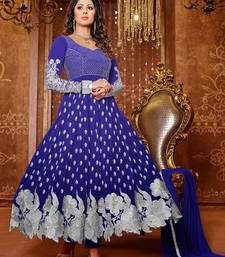 Buy Blue Embroidery Georgette semi stiched salwar suit with dupatta semi-stitched-salwar-suit online