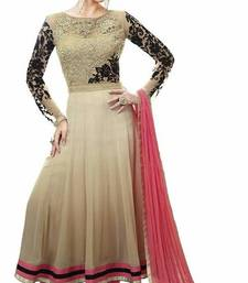 Buy Cream Embroidery Georgette semi stiched salwar suit with dupatta semi-stitched-salwar-suit online