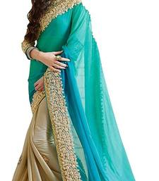 Buy Sky blue embroidered lycra saree with blouse other-saree online