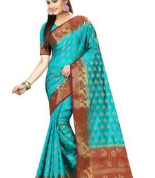 Buy Sky blue printed nylon saree with blouse other-saree online