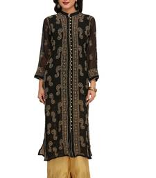 Buy Black embroidered georgette chikankari-kurtis chikankari-kurtis online
