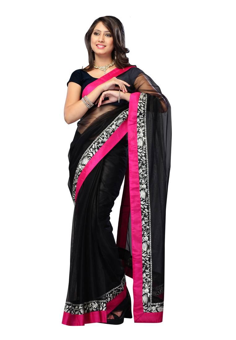 Buy Bollywood Replica Deepika Padukone Black Net Saree Online