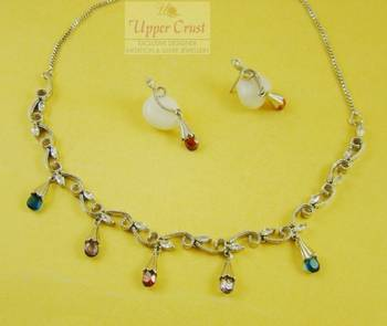 Sleek Multicolored CZ Necklace Earring Jewellery