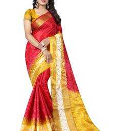 Buy Red woven art silk saree with blouse art-silk-saree online