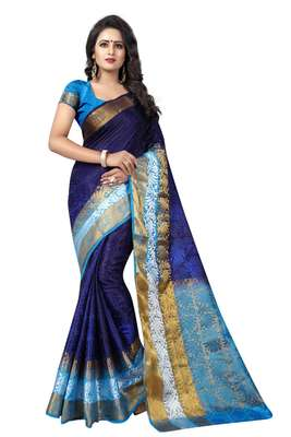 Blue hand woven cotton silk saree with blouse