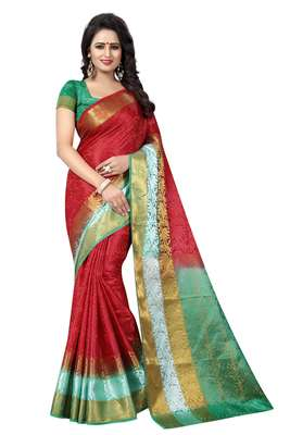 Red hand woven cotton silk saree with blouse