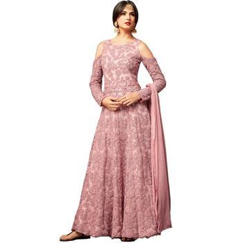 Pink hand woven net salwar with dupatta