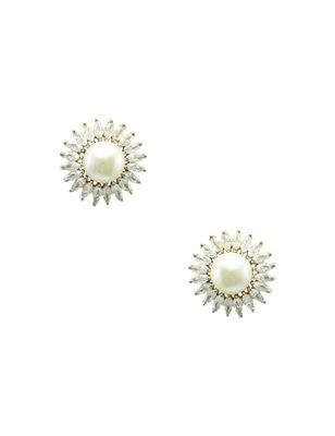 Pearl white cz ad american diamond stud earrings jewellery for women