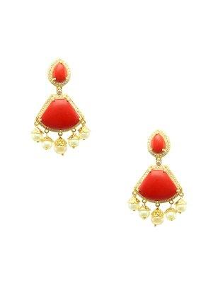 Orange cz ad american diamond dangle and drop earrings jewellery for women