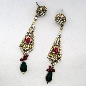 Victorian Earring Triangular Red Green