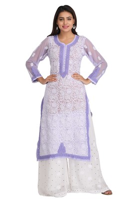 Mauve Embroidered Georgette Chikankari Kurti