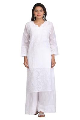 White Embroidered Cotton Chikankari Kurti