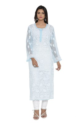Blue embroidered georgette chikankari-kurtis