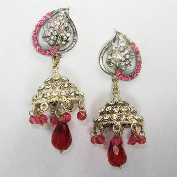 Victorian Jhumki Blood Red