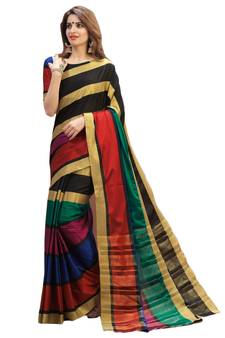 a6d30f33a1f multicolor printed chanderi silk saree with blouse. Shop Now