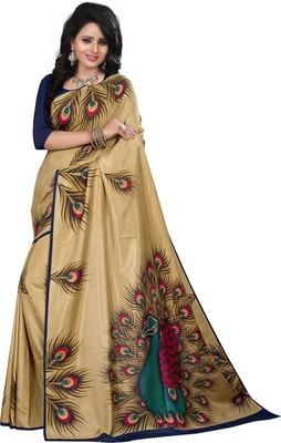 Gold printed Silk saree with blouse