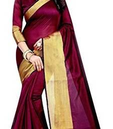 Buy Maroon printed bhagalpuri saree with blouse cotton-saree online