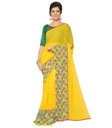 Buy Yellow woven chiffon saree with blouse chiffon-saree online