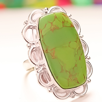 GREEN COPPER TURQUOISE /& Other Variety Of Stones Ring 925 Silver Plated Jewelry