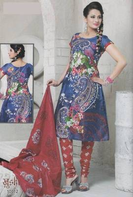 Dress material cotton designer prints unstitched salwar kameez suit d.no 10012  Prints