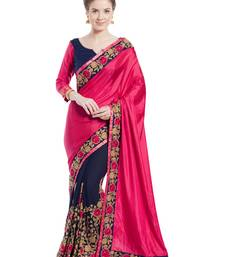Buy Magenta and violet patch and  stone and  floral design paper silk and georgette saree with blouse great-indian-saree-festival online