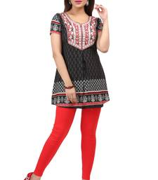 light black resham embroidery crepe  kurti