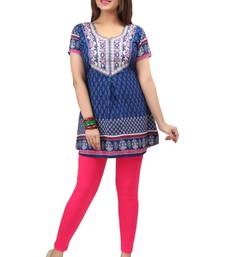 dark blue resham embroidery crepe  kurti