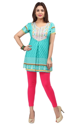 light cyan resham embroidery crepe  kurti
