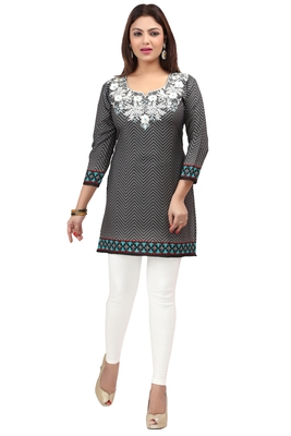 dark grey resham embroidery crepe  kurti