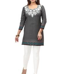 Buy dark grey resham embroidery crepe  kurti short-kurtis online