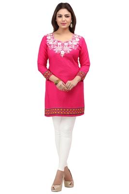 dark pink resham embroidery crepe  kurti
