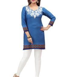 dark blue resham embroidery crepe  kurti
