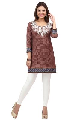 light brown resham embroidery crepe  kurti