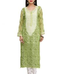 Green Embroidered Georgette Chikankari Kurti