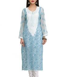 Blue embroidered georgette chikankari-kurtis