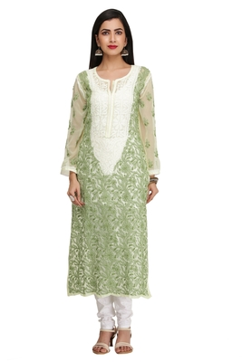 Green Embroidered Georgette Chikankari Kurti