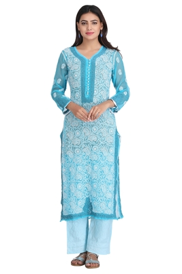 Blue Embroidered Georgette Chikankari Kurti