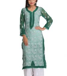 Dark green embroidered georgette chikankari-kurtis