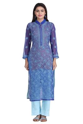 Royal Blue Embroidered Georgette Chikankari Kurti
