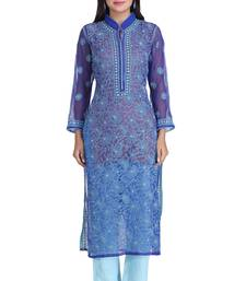 Royal blue embroidered georgette chikankari-kurtis