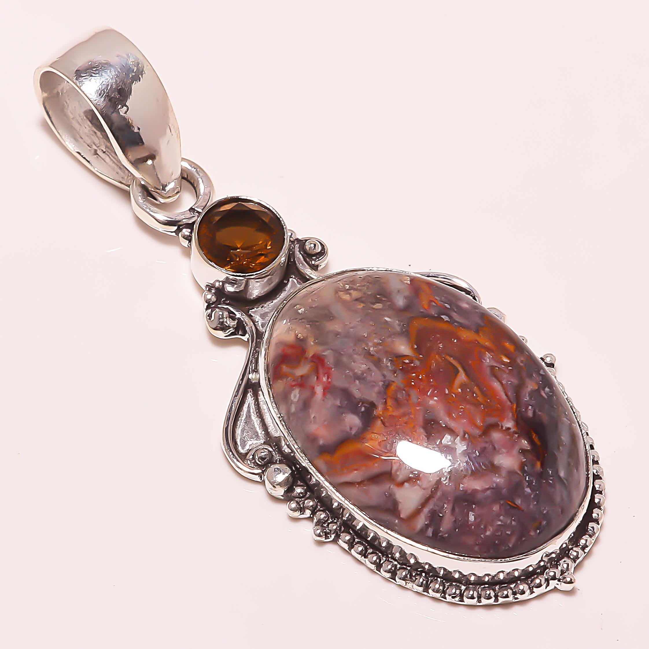 2e5b7a333 Lipedolite gem stone gemstone 925 silver jewelry pendant 2.64