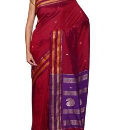 Buy Red woven silk saree with blouse silk-saree online