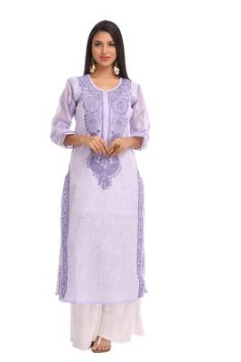 Mauve embroidered cotton chikankari-kurtis
