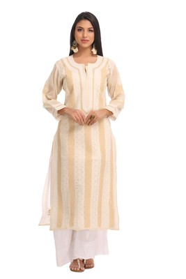 Fawn Embroidered Cotton Chikankari Kurti