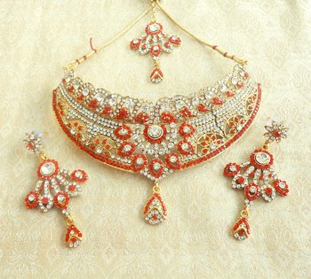 Stunning red stone delicate choker jewellery necklace set  for wedding festival