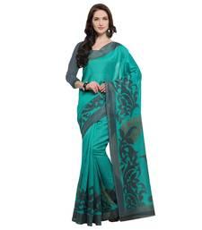 Buy Teal printed jute saree with blouse jute-saree online