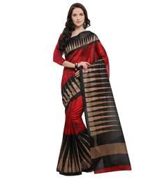 Buy Red printed jute saree with blouse jute-saree online