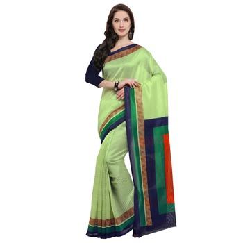 Light green printed jute saree with blouse