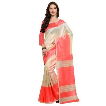 Cream printed jute saree with blouse