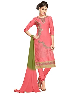 women pure cotton light red embroidered salwar kameez suit with dupatta